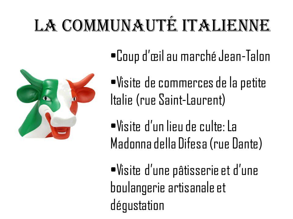 LA communauté italienne Coup dœil au marché Jean-Talon Visite de commerces de la petite Italie (rue Saint-Laurent) Visite dun lieu de culte: La Madonn