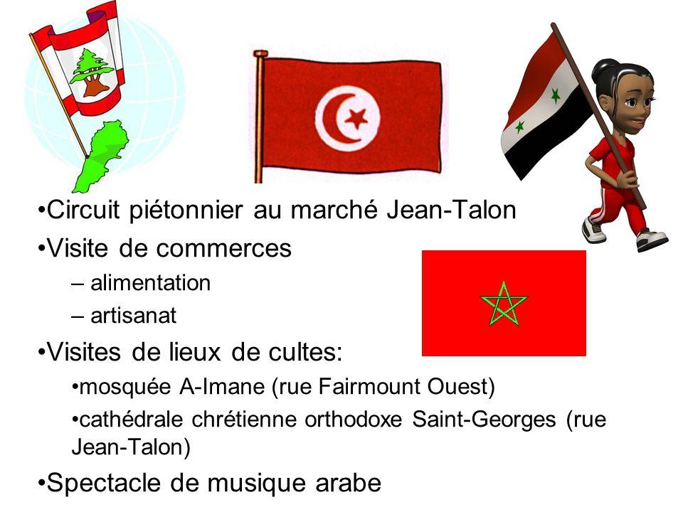 Circuit piétonnier au marché Jean-Talon Visite de commerces – alimentation – artisanat Visites de lieux de cultes: mosquée A-Imane (rue Fairmount Oues