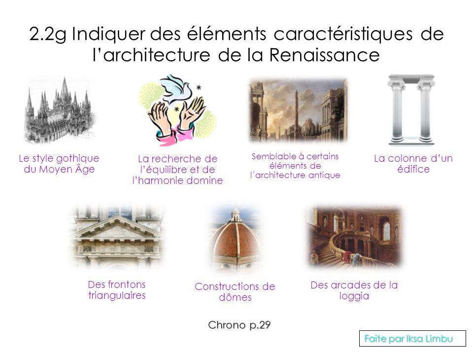 2.2g Indiquer des éléments caractéristiques de larchitecture de la Renaissance Le style gothique du Moyen Âge La recherche de léquilibre et de lharmon