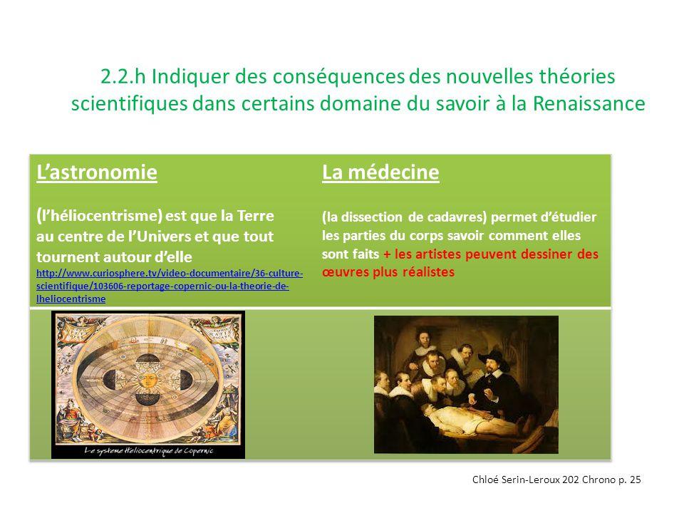 2.2.h Indiquer des conséquences des nouvelles théories scientifiques dans certains domaine du savoir à la Renaissance Chloé Serin-Leroux 202 Chrono p.