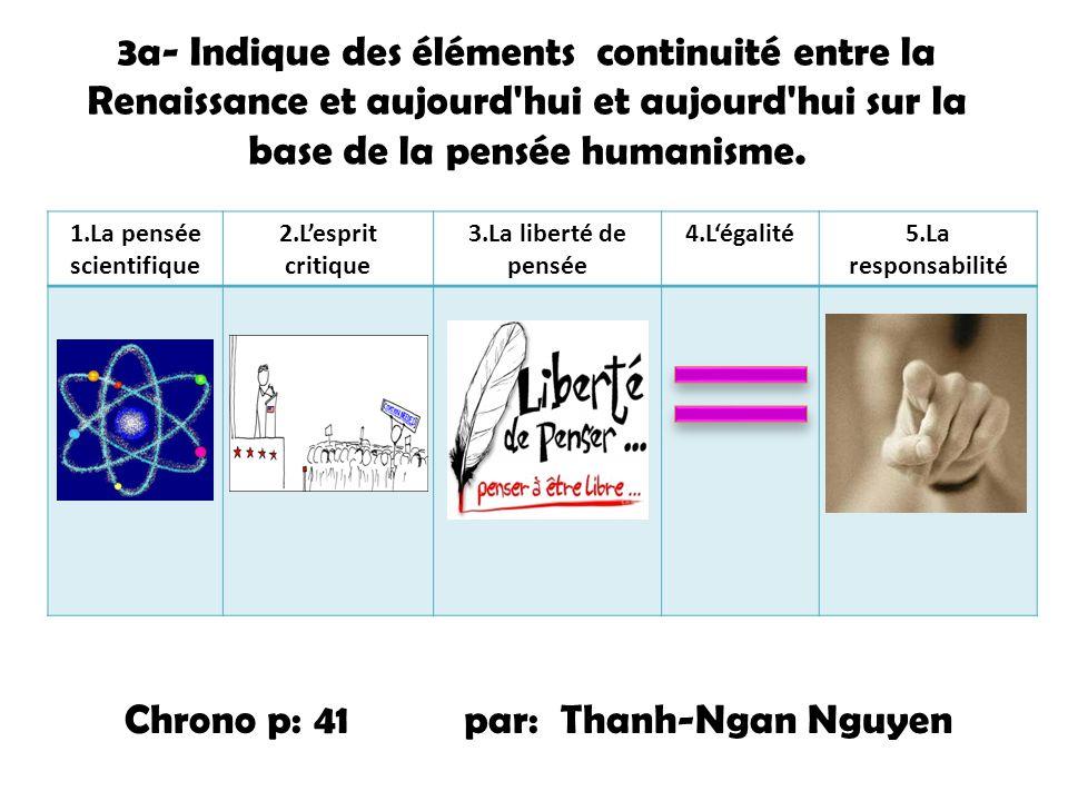 3a- Indique des éléments continuité entre la Renaissance et aujourd'hui et aujourd'hui sur la base de la pensée humanisme. 1.La pensée scientifique 2.