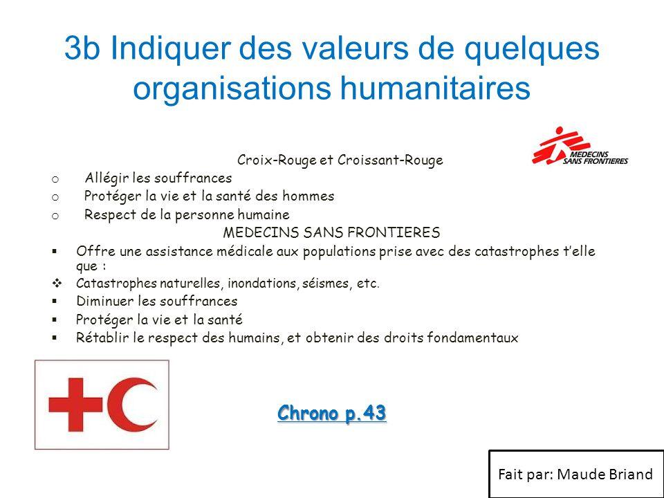 3b Indiquer des valeurs de quelques organisations humanitaires Croix-Rouge et Croissant-Rouge o Allégir les souffrances o Protéger la vie et la santé