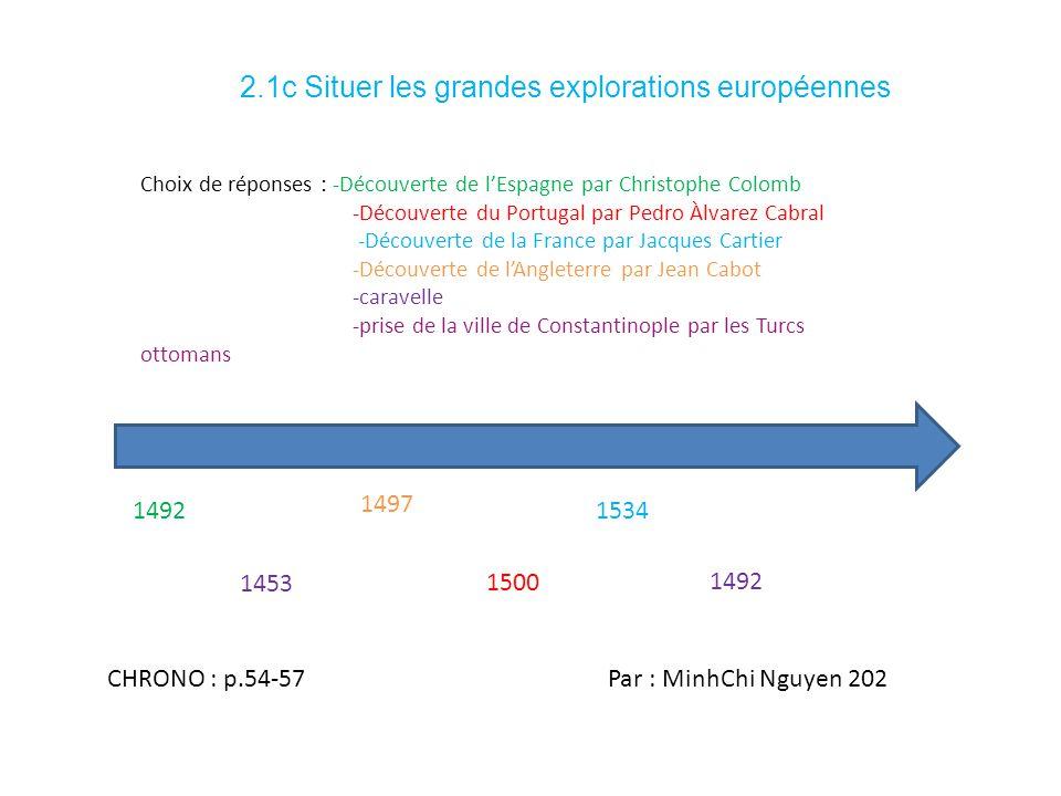 2.1c Situer les grandes explorations européennes 1492 Choix de réponses : -Découverte de lEspagne par Christophe Colomb -Découverte du Portugal par Pe