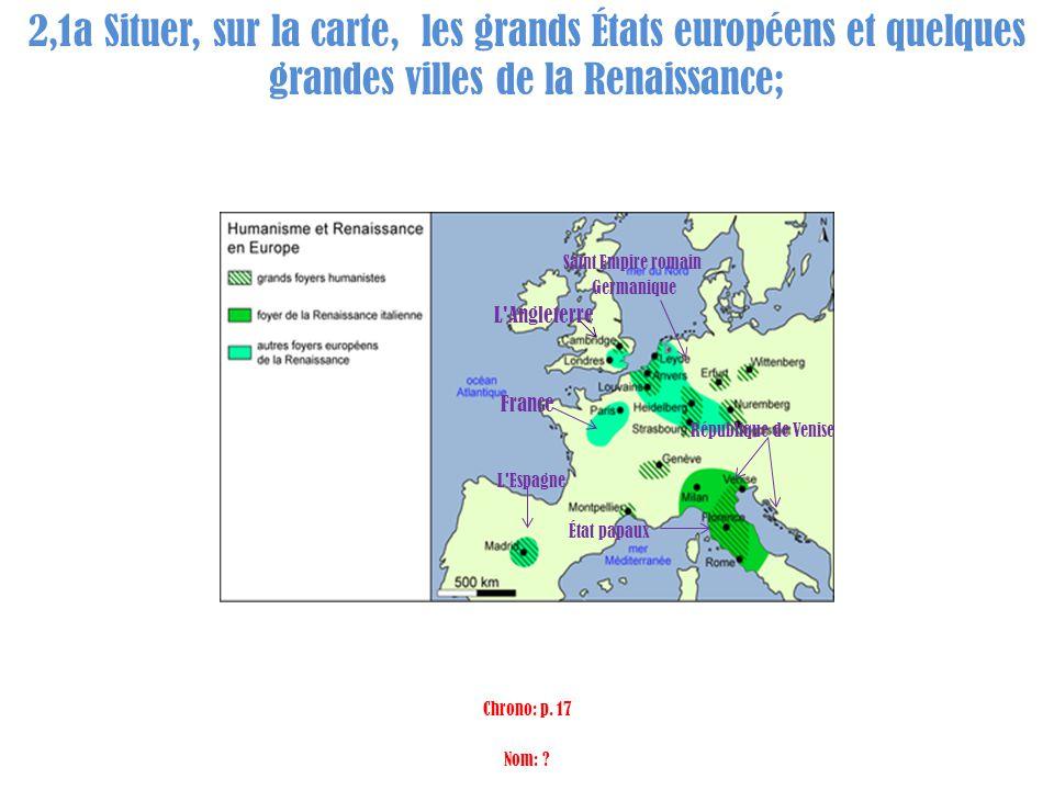2,1a Situer, sur la carte, les grands États européens et quelques grandes villes de la Renaissance; Saint Empire romain Germanique L'Angleterre France