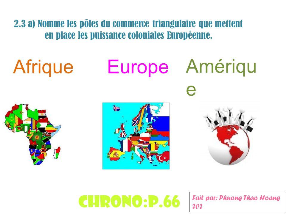 2.3 a) Nomme les pôles du commerce triangulaire que mettent en place les puissance coloniales Européenne. AfriqueEurope Amériqu e Chrono:p.66 Fait par
