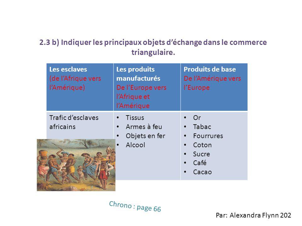 2.3 b) Indiquer les principaux objets déchange dans le commerce triangulaire. Les esclaves (de lAfrique vers lAmérique) Les produits manufacturés De l