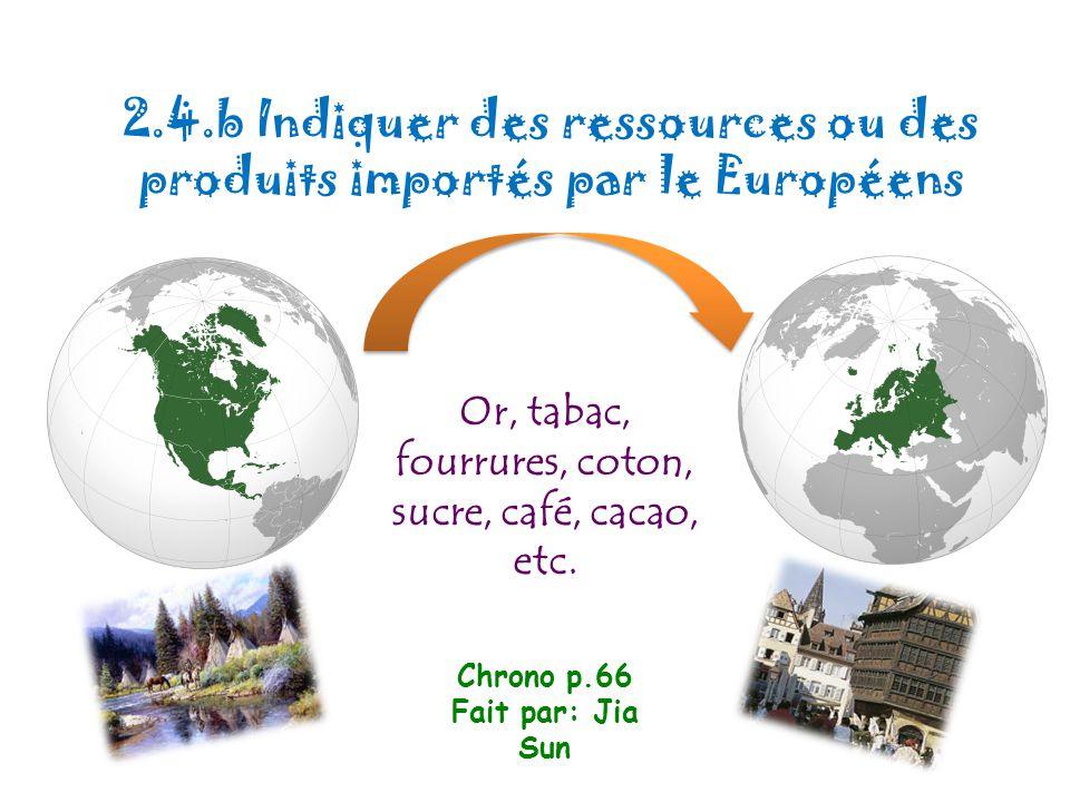 2.4.b Indiquer des ressources ou des produits importés par le Européens Or, tabac, fourrures, coton, sucre, café, cacao, etc. Chrono p.66 Fait par: Ji