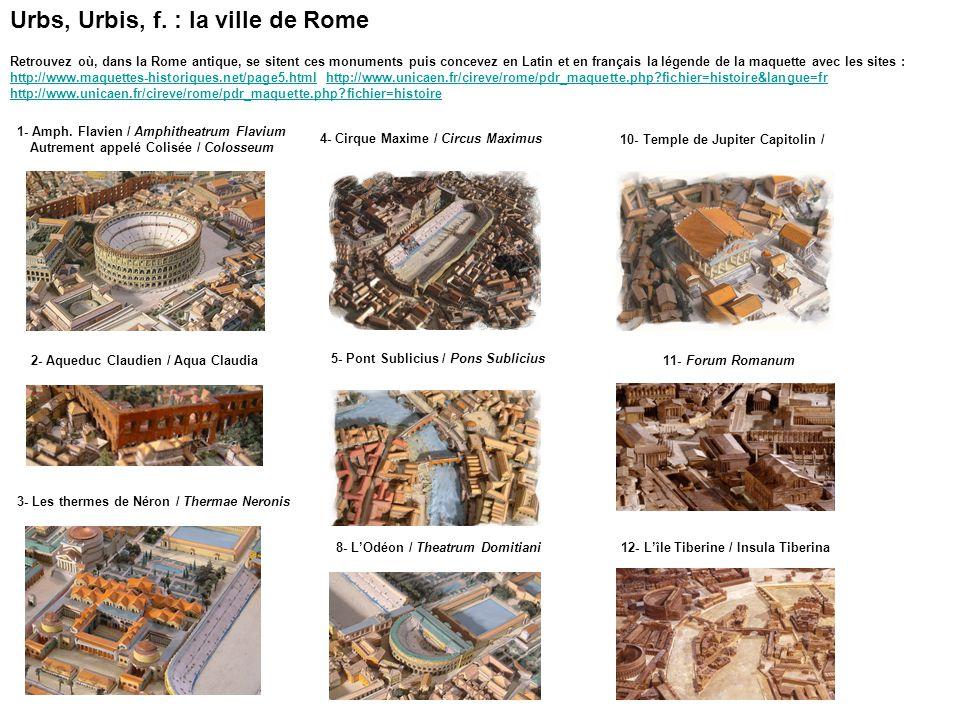 1- Amph. Flavien / Amphitheatrum Flavium Autrement appelé Colisée / Colosseum 2- Aqueduc Claudien / Aqua Claudia 4- Cirque Maxime / Circus Maximus 5-