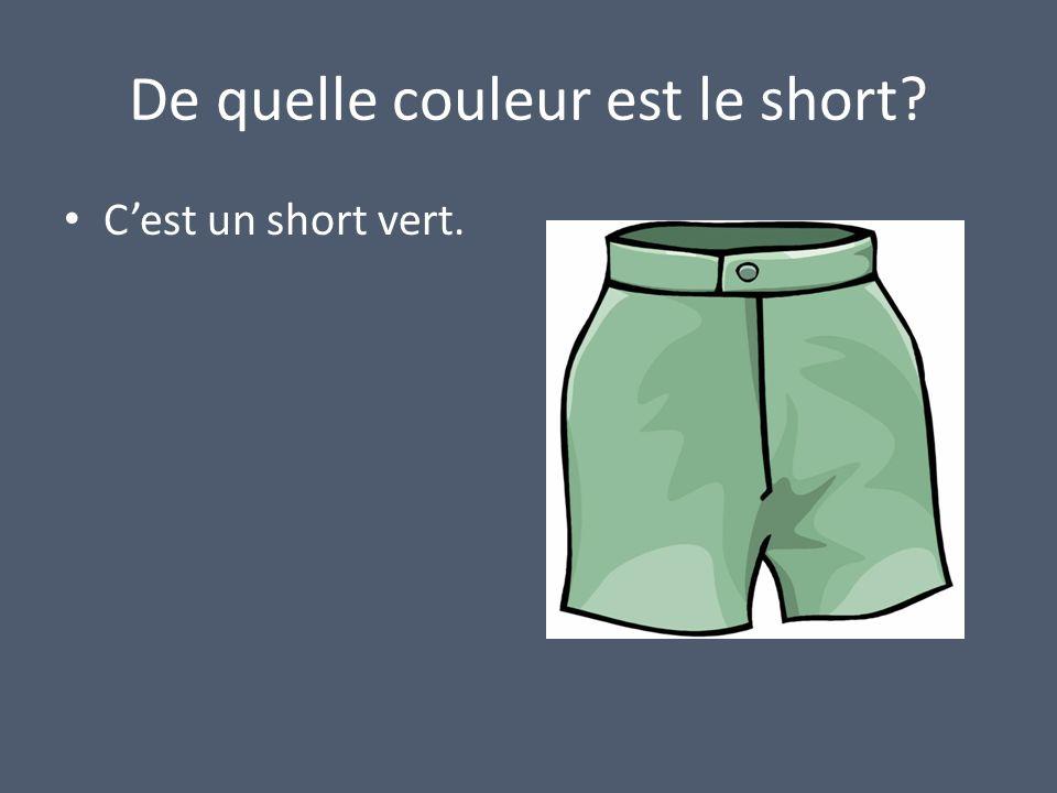 De quelle couleur est le short? Cest un short vert.