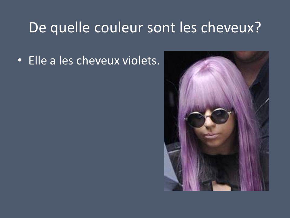 De quelle couleur sont les cheveux? Elle a les cheveux violets.