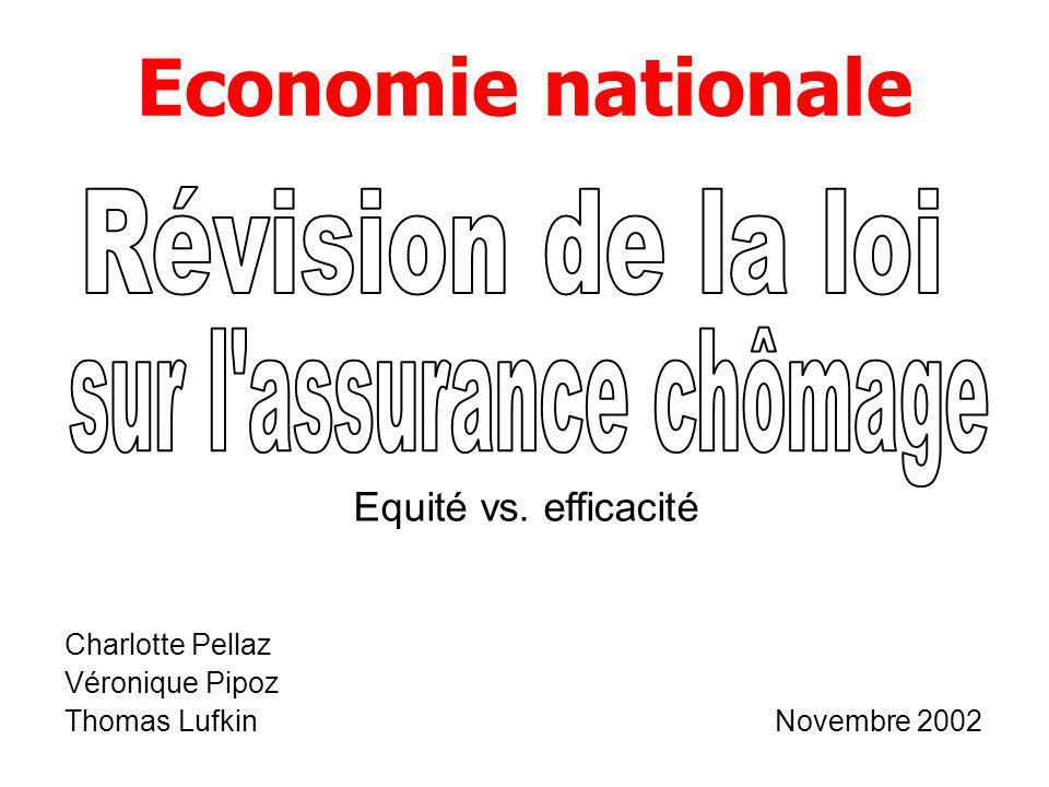 Economie nationale Charlotte Pellaz Véronique Pipoz Thomas Lufkin Novembre 2002 Equité vs. efficacité
