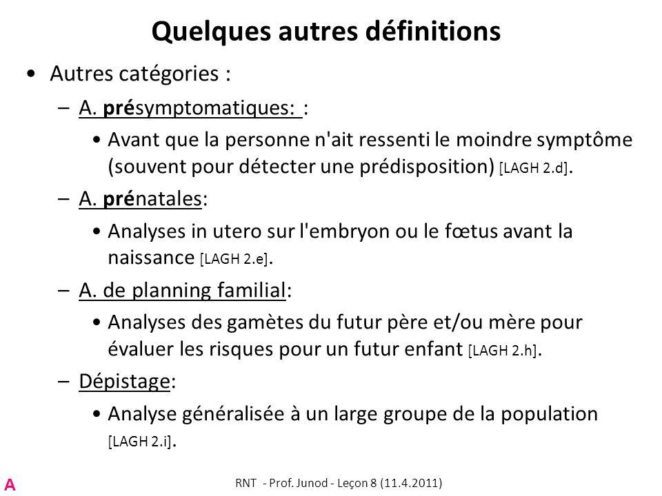 Quelques autres définitions Autres catégories : –A.