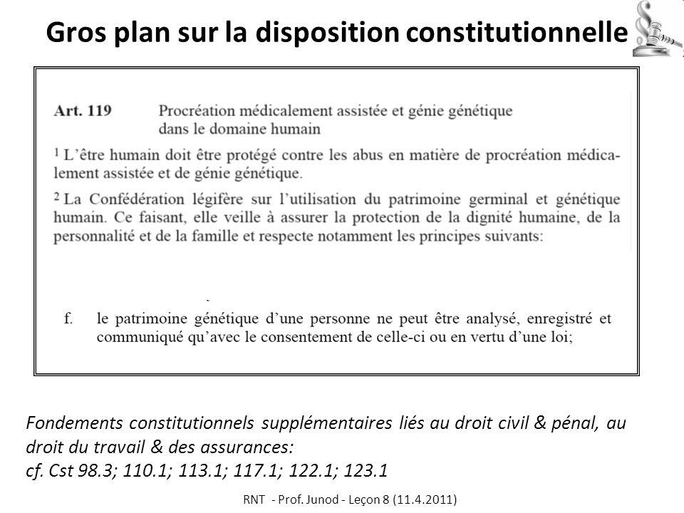 Gros plan sur la disposition constitutionnelle Fondements constitutionnels supplémentaires liés au droit civil & pénal, au droit du travail & des assurances: cf.