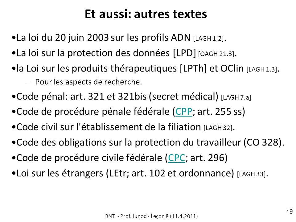 Et aussi: autres textes La loi du 20 juin 2003 sur les profils ADN [LAGH 1.2].