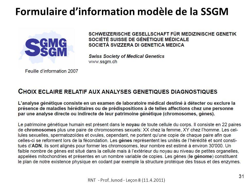 Formulaire dinformation modèle de la SSGM RNT - Prof. Junod - Leçon 8 (11.4.2011) 31