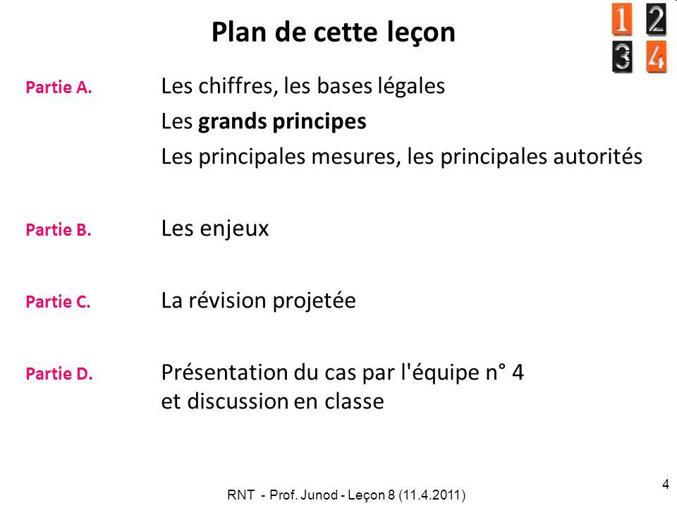 RNT - Prof. Junod - Leçon 8 (11.4.2011) 4 Plan de cette leçon Partie A.