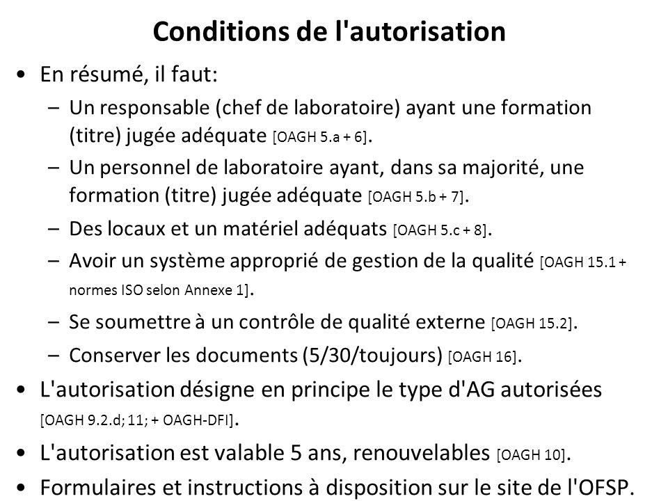 Conditions de l autorisation En résumé, il faut: –Un responsable (chef de laboratoire) ayant une formation (titre) jugée adéquate [OAGH 5.a + 6].