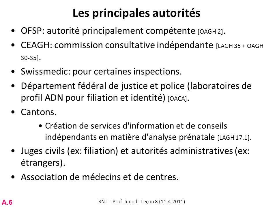 Les principales autorités OFSP: autorité principalement compétente [OAGH 2].