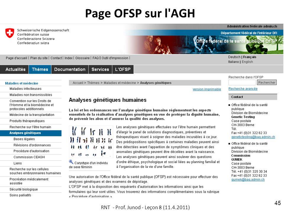 Page OFSP sur l AGH RNT - Prof. Junod - Leçon 8 (11.4.2011) 45