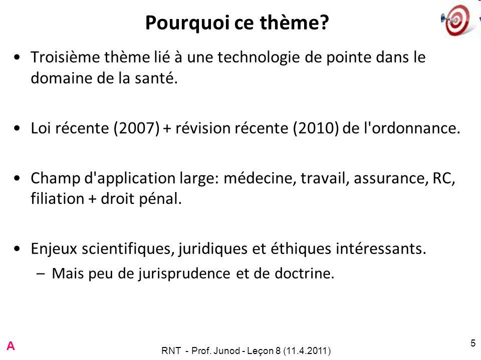 RNT - Prof. Junod - Leçon 8 (11.4.2011) 5 Pourquoi ce thème.