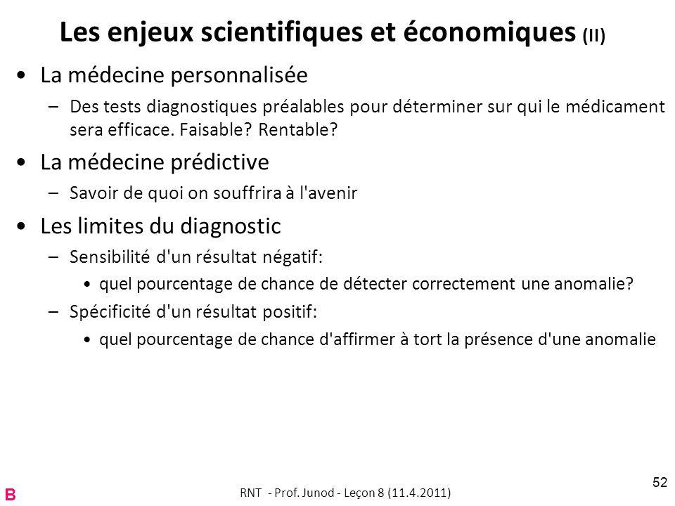 Les enjeux scientifiques et économiques (II) La médecine personnalisée –Des tests diagnostiques préalables pour déterminer sur qui le médicament sera efficace.