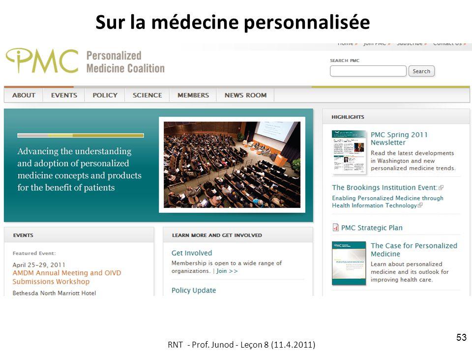 Sur la médecine personnalisée RNT - Prof. Junod - Leçon 8 (11.4.2011) 53
