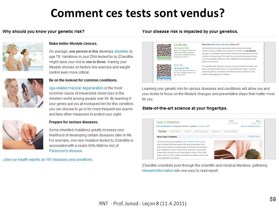 Comment ces tests sont vendus RNT - Prof. Junod - Leçon 8 (11.4.2011) 59