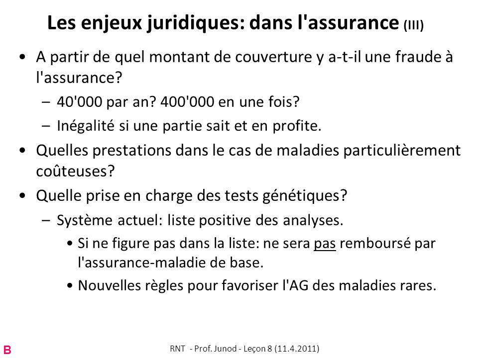 Les enjeux juridiques: dans l assurance (III) A partir de quel montant de couverture y a-t-il une fraude à l assurance.