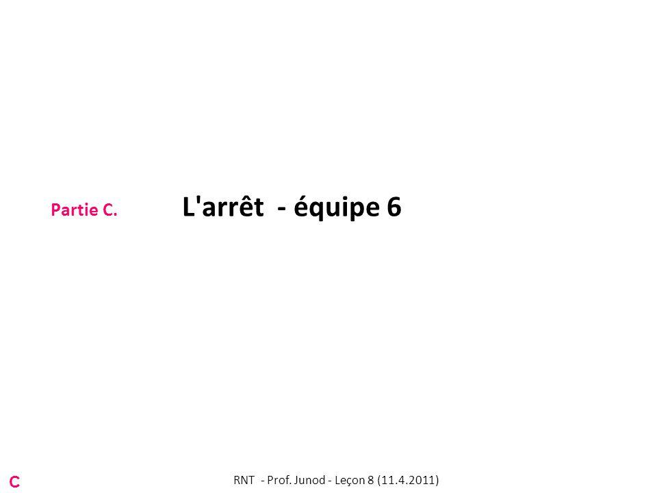 Partie C. L arrêt - équipe 6 C RNT - Prof. Junod - Leçon 8 (11.4.2011)