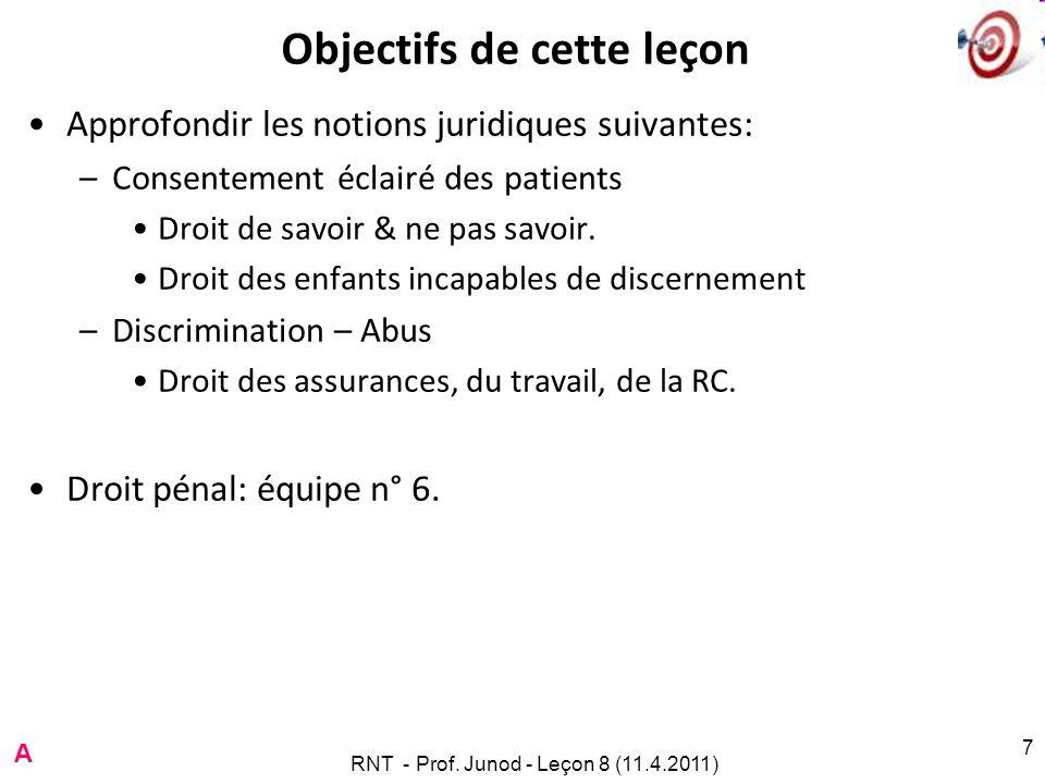 7 Objectifs de cette leçon Approfondir les notions juridiques suivantes: –Consentement éclairé des patients Droit de savoir & ne pas savoir.
