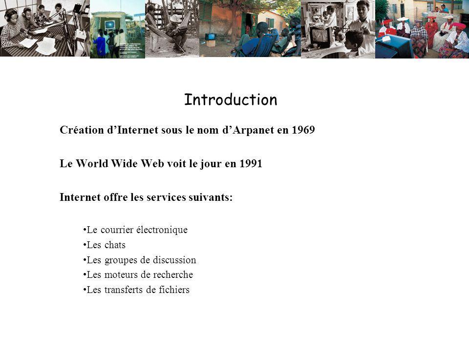 Introduction Création dInternet sous le nom dArpanet en 1969 Le World Wide Web voit le jour en 1991 Internet offre les services suivants: Le courrier électronique Les chats Les groupes de discussion Les moteurs de recherche Les transferts de fichiers