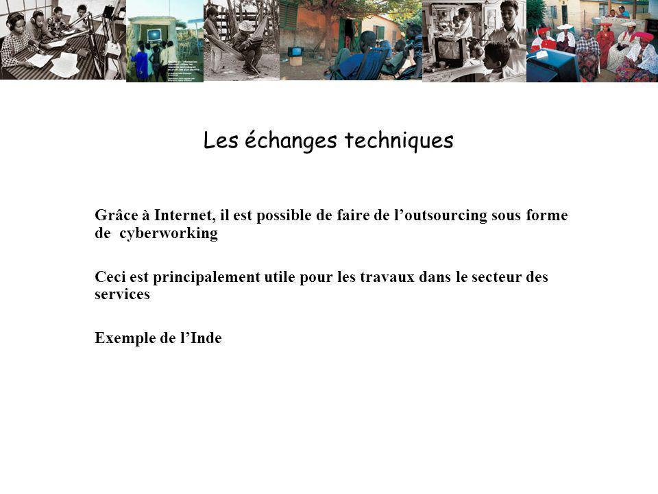 Les échanges techniques Grâce à Internet, il est possible de faire de loutsourcing sous forme de cyberworking Ceci est principalement utile pour les travaux dans le secteur des services Exemple de lInde