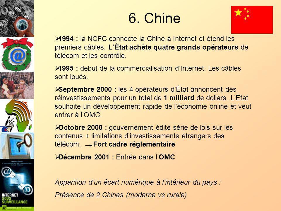 6. Chine 1994 : la NCFC connecte la Chine à Internet et étend les premiers câbles.
