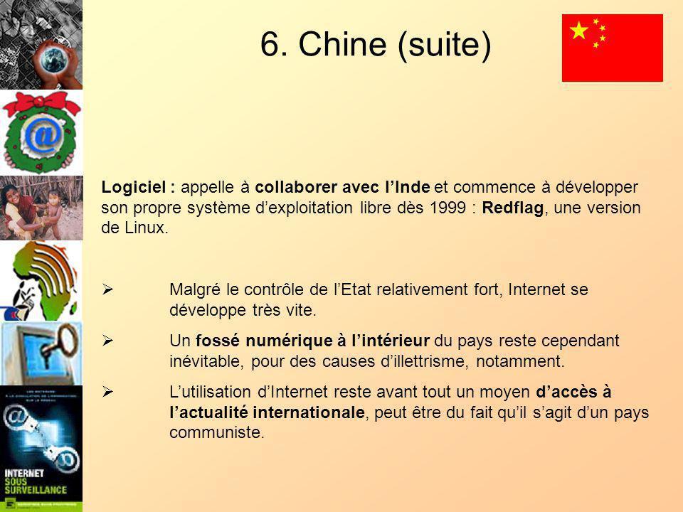 6. Chine (suite) Logiciel : appelle à collaborer avec lInde et commence à développer son propre système dexploitation libre dès 1999 : Redflag, une ve