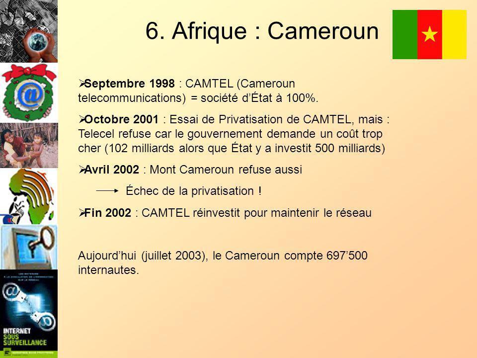 6. Afrique : Cameroun Septembre 1998 : CAMTEL (Cameroun telecommunications) = société dÉtat à 100%.