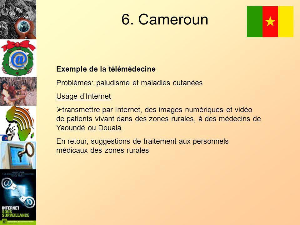 6. Cameroun Exemple de la télémédecine Problèmes: paludisme et maladies cutanées Usage dInternet transmettre par Internet, des images numériques et vi