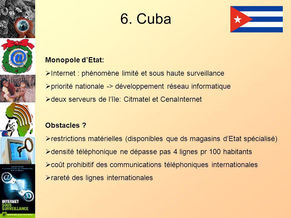 6. Cuba Monopole dEtat: Internet : phénomène limité et sous haute surveillance priorité nationale -> développement réseau informatique deux serveurs d