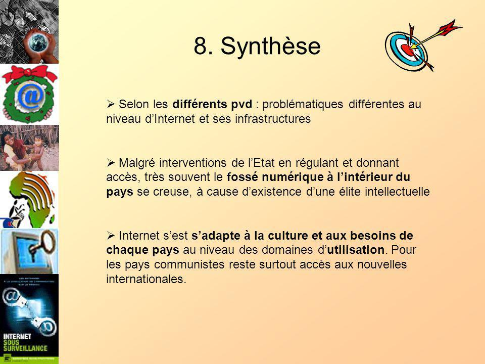 8. Synthèse Selon les différents pvd : problématiques différentes au niveau dInternet et ses infrastructures Malgré interventions de lEtat en régulant