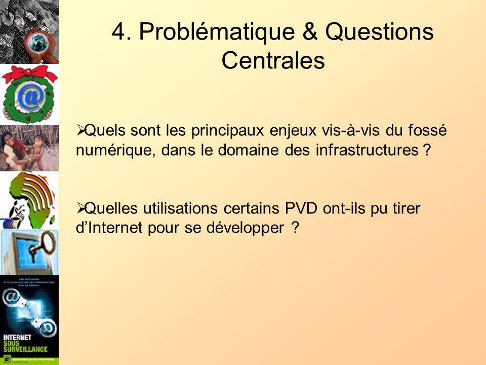 4. Problématique & Questions Centrales Quels sont les principaux enjeux vis-à-vis du fossé numérique, dans le domaine des infrastructures ? Quelles ut