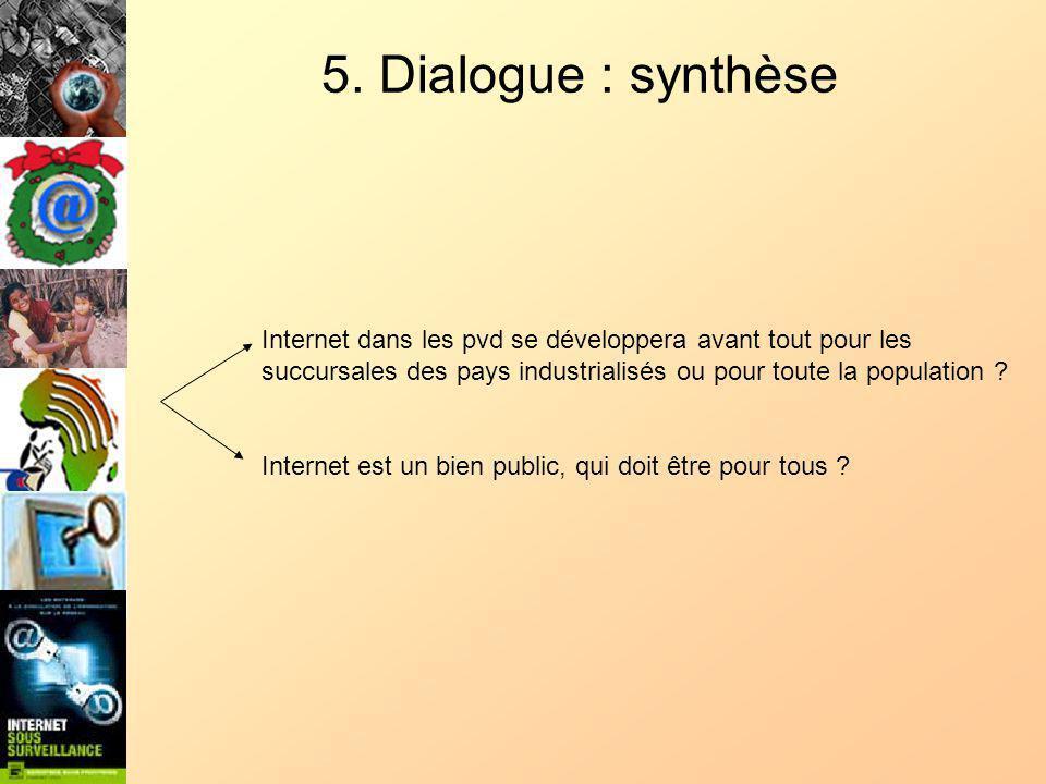 5. Dialogue : synthèse Internet dans les pvd se développera avant tout pour les succursales des pays industrialisés ou pour toute la population ? Inte