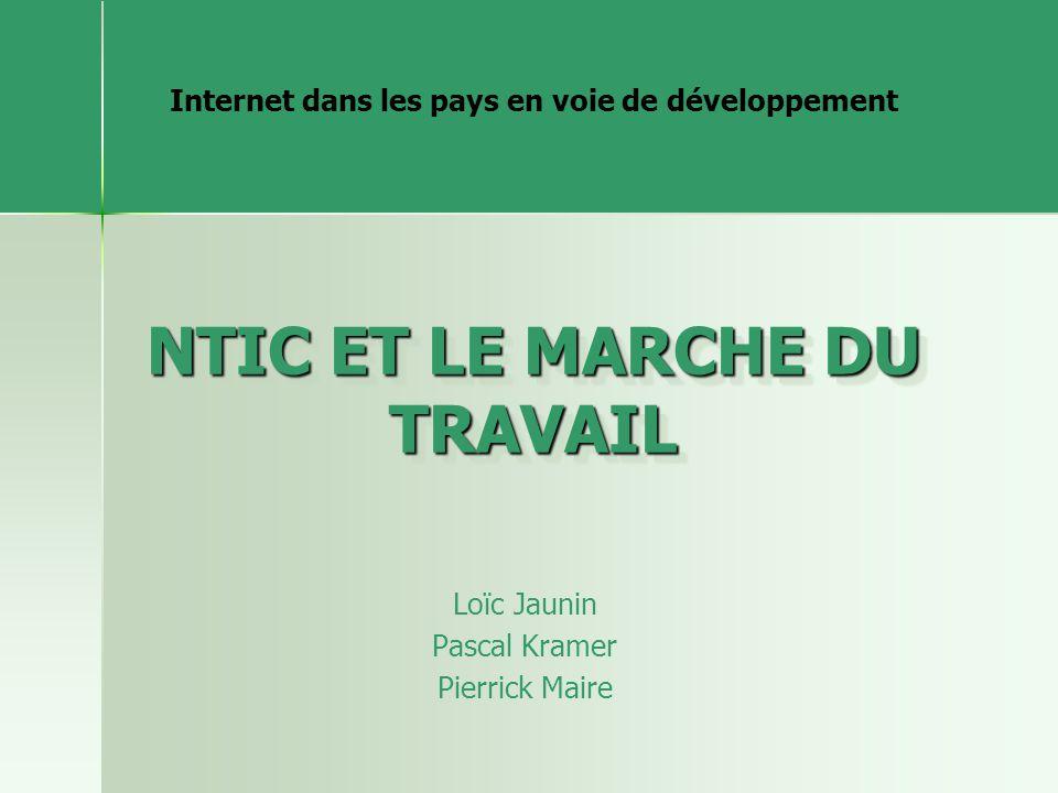 NTIC ET LE MARCHE DU TRAVAIL Loïc Jaunin Pascal Kramer Pierrick Maire Internet dans les pays en voie de développement