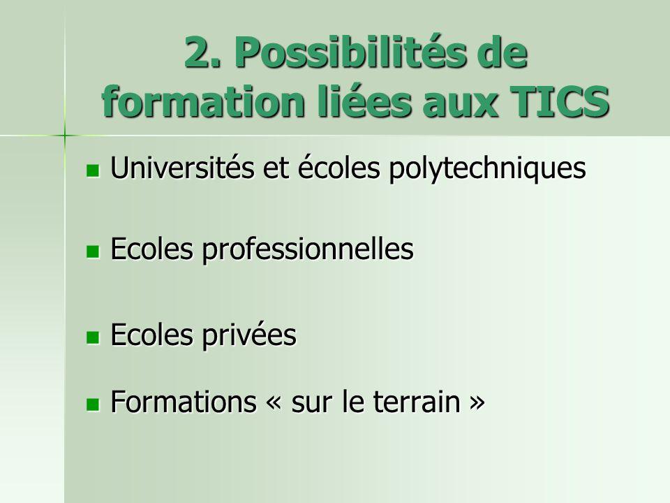 2. Possibilités de formation liées aux TICS Universités et écoles polytechniques Universités et écoles polytechniques Ecoles professionnelles Ecoles p