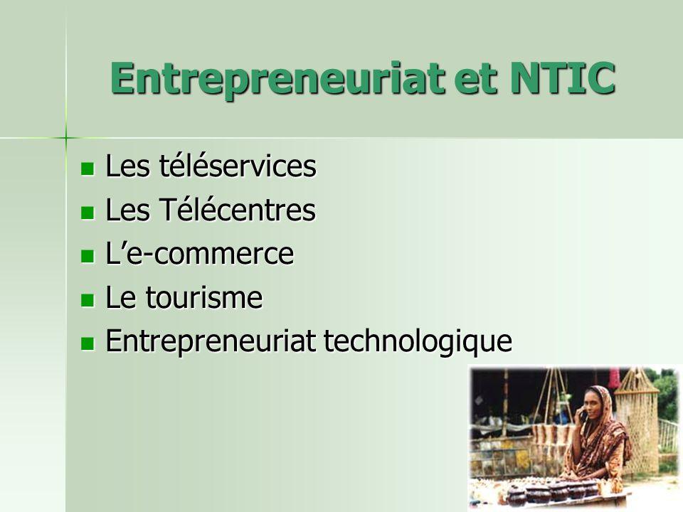 Entrepreneuriat et NTIC Les téléservices Les téléservices Les Télécentres Les Télécentres Le-commerce Le-commerce Le tourisme Le tourisme Entrepreneuriat technologique Entrepreneuriat technologique