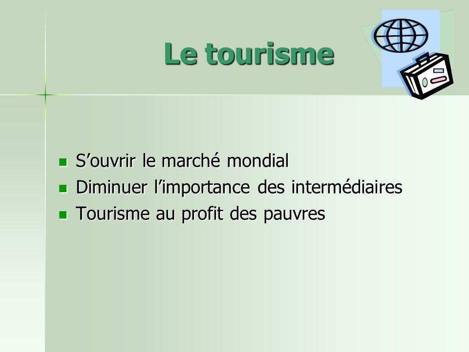Le tourisme Souvrir le marché mondial Souvrir le marché mondial Diminuer limportance des intermédiaires Diminuer limportance des intermédiaires Tourisme au profit des pauvres Tourisme au profit des pauvres