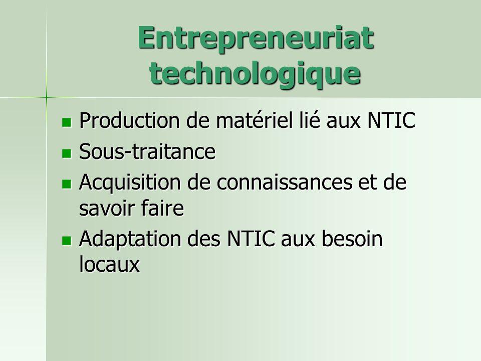 Entrepreneuriat technologique Production de matériel lié aux NTIC Production de matériel lié aux NTIC Sous-traitance Sous-traitance Acquisition de connaissances et de savoir faire Acquisition de connaissances et de savoir faire Adaptation des NTIC aux besoin locaux Adaptation des NTIC aux besoin locaux