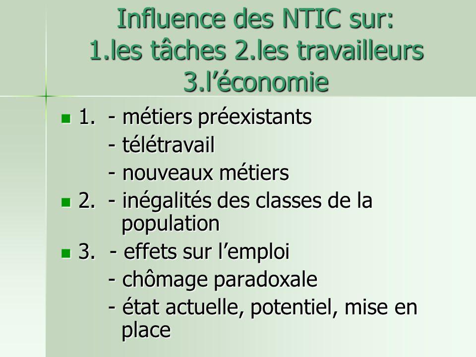 Influence des NTIC sur: 1.les tâches 2.les travailleurs 3.léconomie 1.- métiers préexistants 1.- métiers préexistants - télétravail - nouveaux métiers 2.- inégalités des classes de la population 2.- inégalités des classes de la population 3.