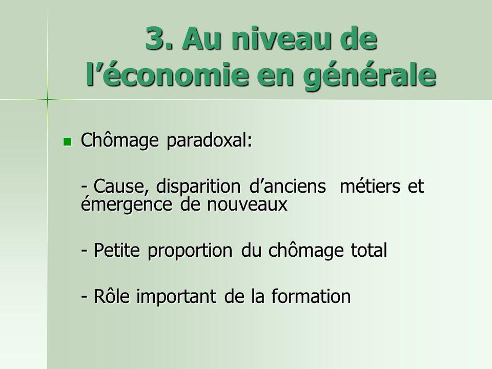3. Au niveau de léconomie en générale Chômage paradoxal: Chômage paradoxal: - Cause, disparition danciens métiers et émergence de nouveaux - Petite pr