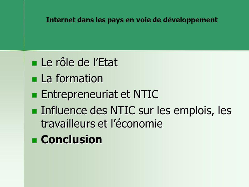 Internet dans les pays en voie de développement Le rôle de lEtat Le rôle de lEtat La formation La formation Entrepreneuriat et NTIC Entrepreneuriat et NTIC Influence des NTIC sur les emplois, les travailleurs et léconomie Influence des NTIC sur les emplois, les travailleurs et léconomie Conclusion Conclusion