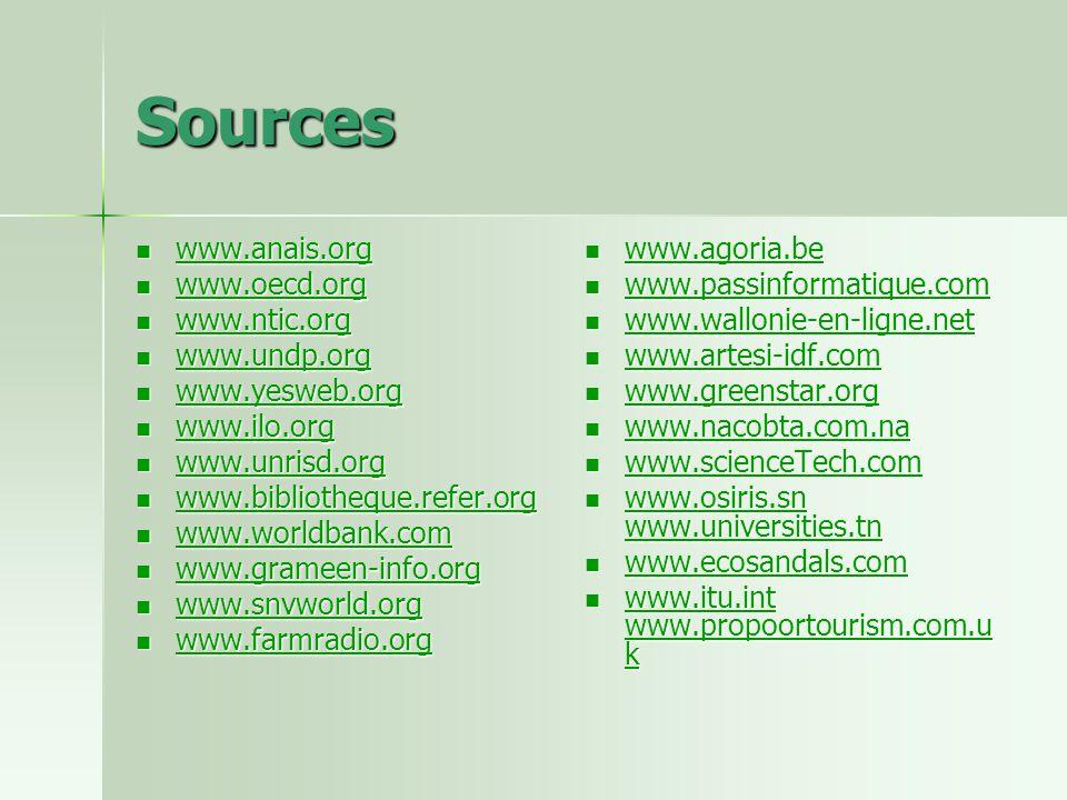 Sources www.anais.org www.anais.org www.anais.org www.oecd.org www.oecd.org www.oecd.org www.ntic.org www.ntic.org www.ntic.org www.undp.org www.undp.org www.undp.org www.yesweb.org www.yesweb.org www.yesweb.org www.ilo.org www.ilo.org www.ilo.org www.unrisd.org www.unrisd.org www.unrisd.org www.bibliotheque.refer.org www.bibliotheque.refer.org www.bibliotheque.refer.org www.worldbank.com www.worldbank.com www.worldbank.com www.grameen-info.org www.grameen-info.org www.grameen-info.org www.snvworld.org www.snvworld.org www.snvworld.org www.farmradio.org www.farmradio.org www.farmradio.org www.agoria.be www.agoria.be www.agoria.be www.passinformatique.com www.passinformatique.com www.passinformatique.com www.wallonie-en-ligne.net www.wallonie-en-ligne.net www.wallonie-en-ligne.net www.artesi-idf.com www.artesi-idf.com www.artesi-idf.com www.greenstar.org www.greenstar.org www.greenstar.org www.nacobta.com.na www.nacobta.com.na www.nacobta.com.na www.scienceTech.com www.scienceTech.com www.scienceTech.com www.osiris.sn www.universities.tn www.osiris.sn www.universities.tn www.osiris.sn www.universities.tn www.osiris.sn www.universities.tn www.ecosandals.com www.ecosandals.com www.ecosandals.com www.itu.int www.propoortourism.com.u k www.itu.int www.propoortourism.com.u k www.itu.int www.propoortourism.com.u k www.itu.int www.propoortourism.com.u k