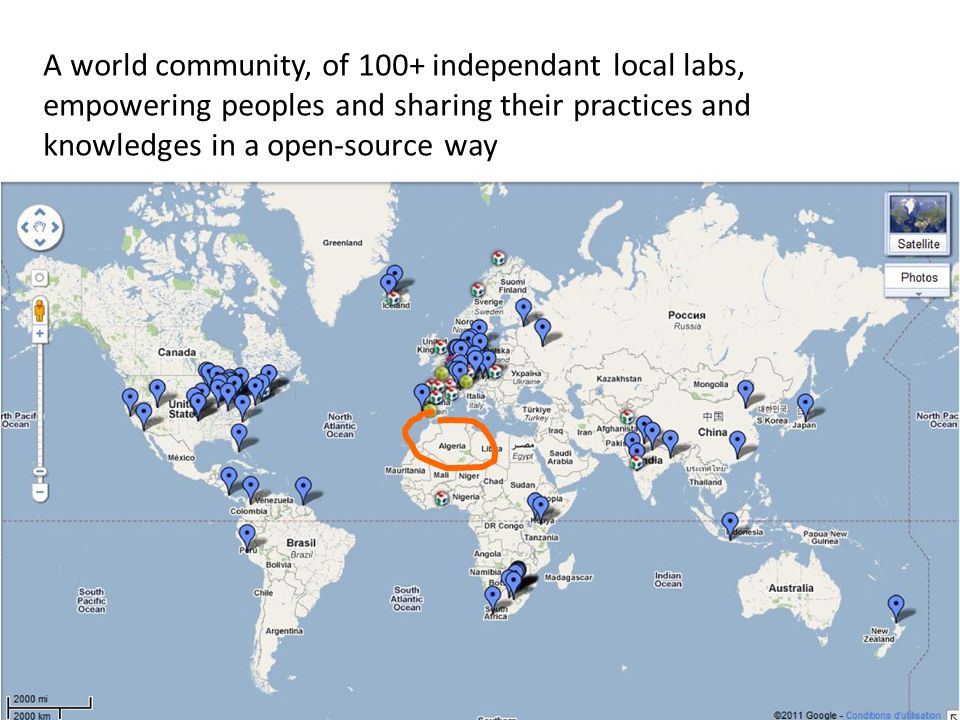 A world community, of 100+ independant local labs, empowering peoples and sharing their practices and knowledges in a open-source way